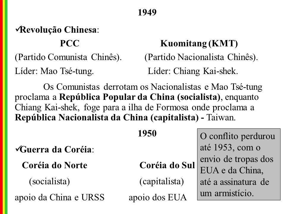 1949 Revolução Chinesa: PCC Kuomitang (KMT) (Partido Comunista Chinês).