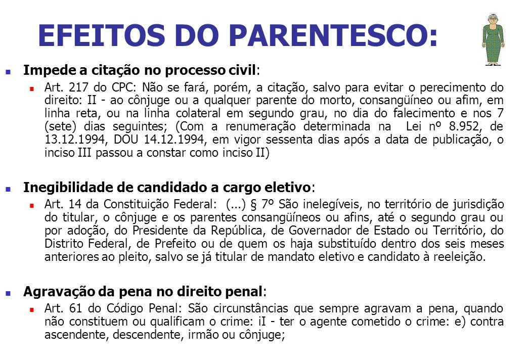 EFEITOS DO PARENTESCO: Impede a citação no processo civil: Art. 217 do CPC: Não se fará, porém, a citação, salvo para evitar o perecimento do direito: