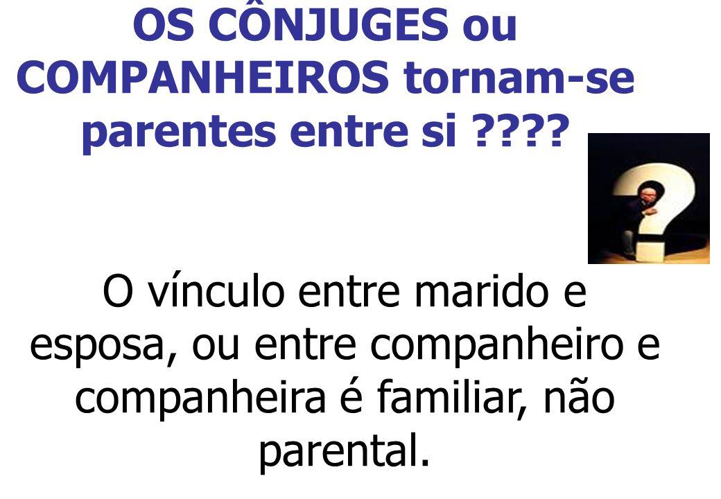 OS CÔNJUGES ou COMPANHEIROS tornam-se parentes entre si ???? O vínculo entre marido e esposa, ou entre companheiro e companheira é familiar, não paren