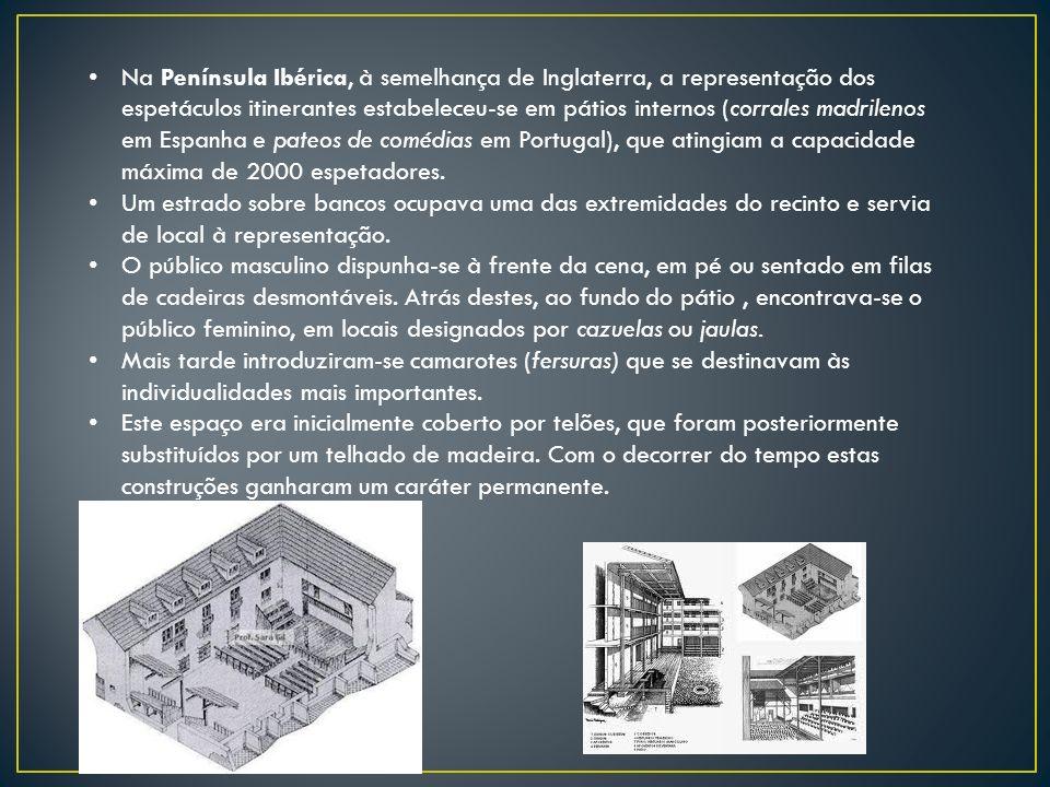 Na Península Ibérica, à semelhança de Inglaterra, a representação dos espetáculos itinerantes estabeleceu-se em pátios internos (corrales madrilenos e