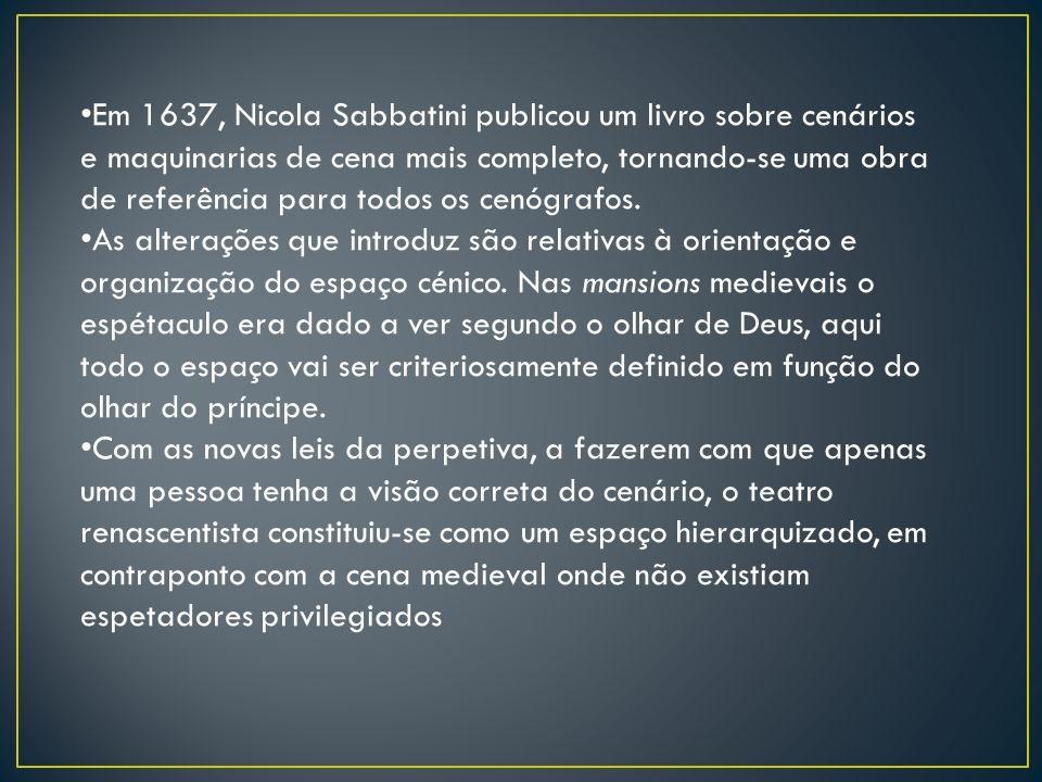 Em 1637, Nicola Sabbatini publicou um livro sobre cenários e maquinarias de cena mais completo, tornando-se uma obra de referência para todos os cenóg