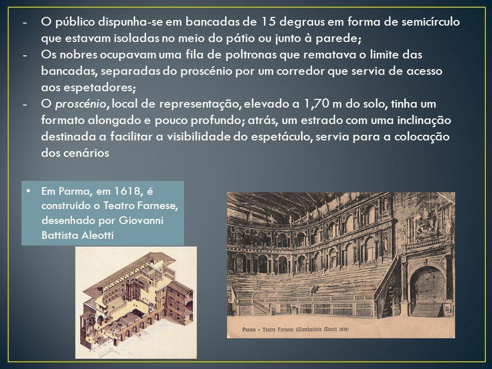 -O público dispunha-se em bancadas de 15 degraus em forma de semicírculo que estavam isoladas no meio do pátio ou junto à parede; -Os nobres ocupavam