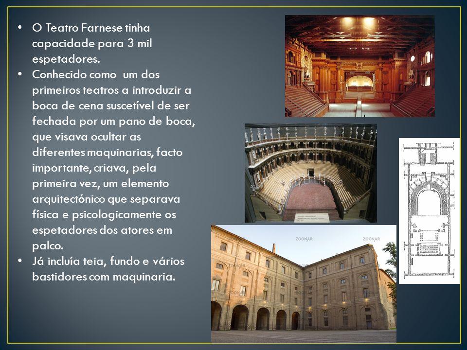 O Teatro Farnese tinha capacidade para 3 mil espetadores. Conhecido como um dos primeiros teatros a introduzir a boca de cena suscetível de ser fechad