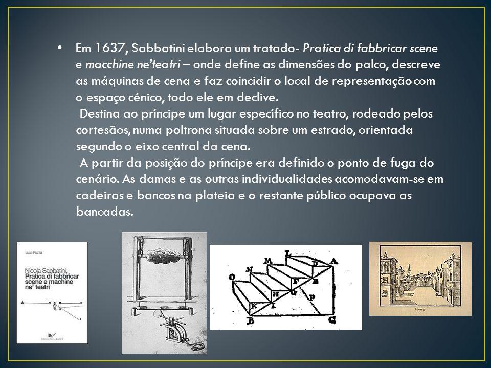 Em 1637, Sabbatini elabora um tratado- Pratica di fabbricar scene e macchine neteatri – onde define as dimensões do palco, descreve as máquinas de cen