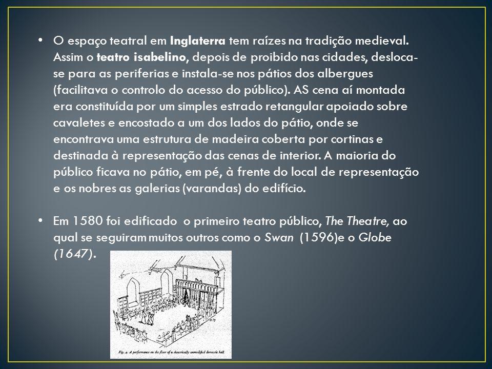 O espaço teatral em Inglaterra tem raízes na tradição medieval. Assim o teatro isabelino, depois de proibido nas cidades, desloca- se para as periferi