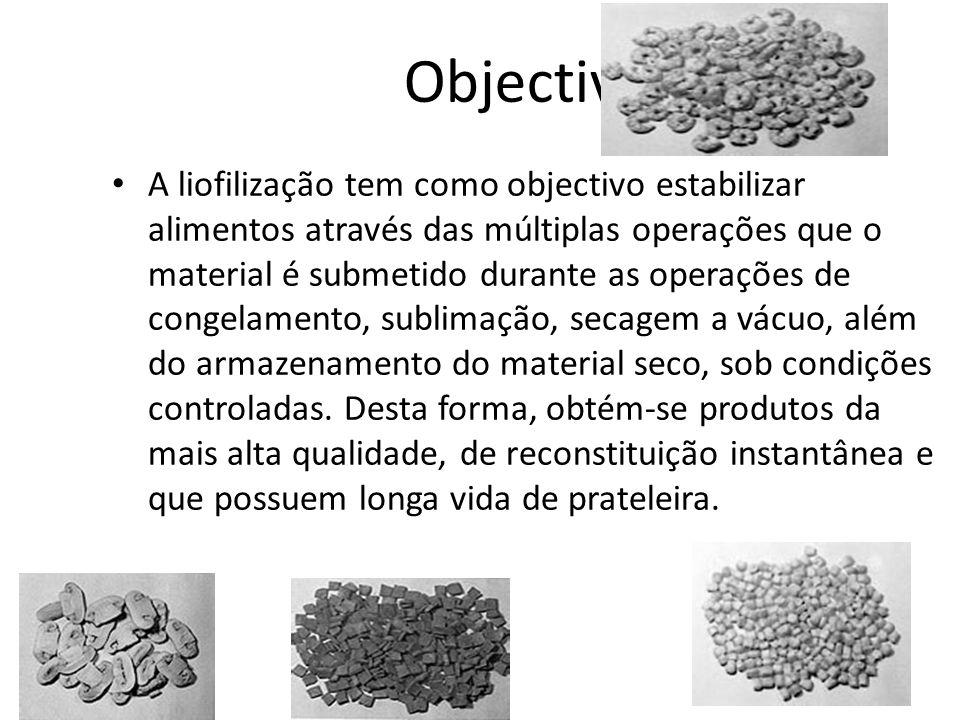 Objectivo A liofilização tem como objectivo estabilizar alimentos através das múltiplas operações que o material é submetido durante as operações de c