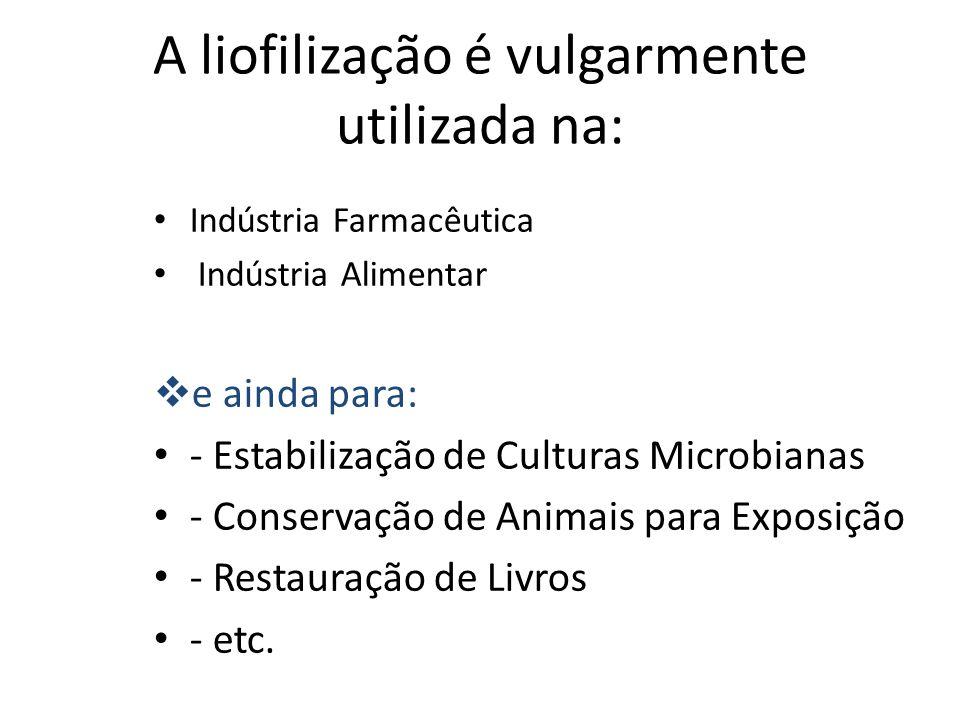 A liofilização é vulgarmente utilizada na: Indústria Farmacêutica Indústria Alimentar e ainda para: - Estabilização de Culturas Microbianas - Conserva