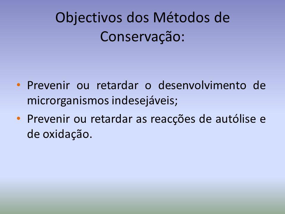 Objectivos dos Métodos de Conservação: Prevenir ou retardar o desenvolvimento de microrganismos indesejáveis; Prevenir ou retardar as reacções de autó