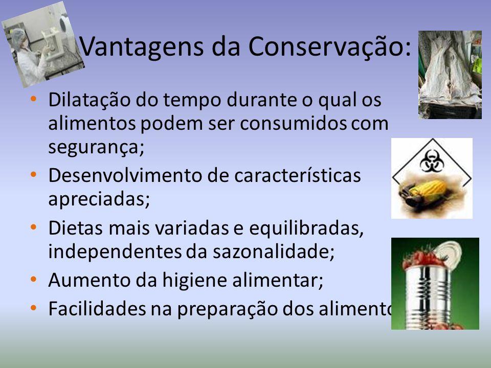 Vantagens da Conservação: Dilatação do tempo durante o qual os alimentos podem ser consumidos com segurança; Desenvolvimento de características apreci