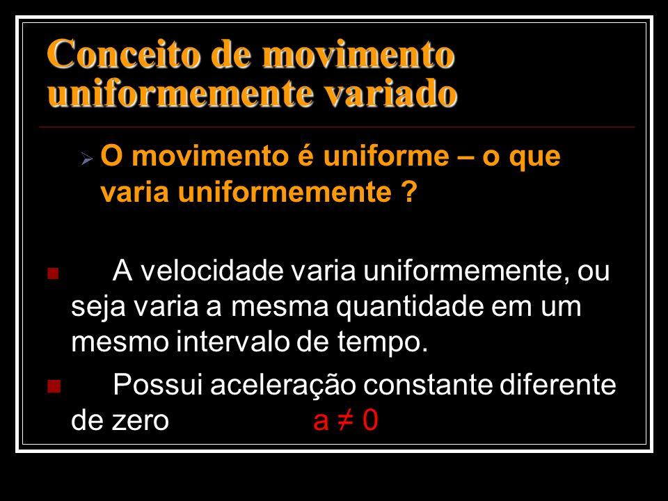 Conceito de movimento uniformemente variado O movimento é uniforme – o que varia uniformemente ? A velocidade varia uniformemente, ou seja varia a mes