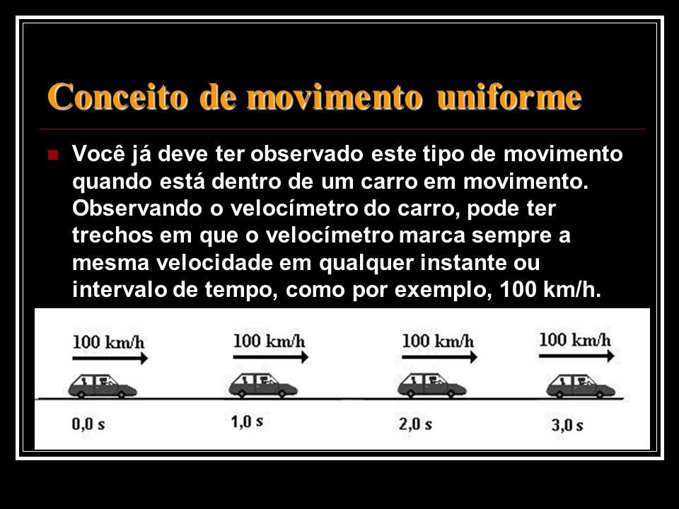 Conceito de movimento uniforme Conceito de movimento uniforme Você já deve ter observado este tipo de movimento quando está dentro de um carro em movi