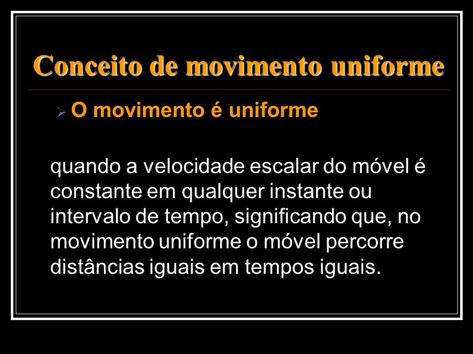 Conceito de movimento uniforme O movimento é uniforme quando a velocidade escalar do móvel é constante em qualquer instante ou intervalo de tempo, sig