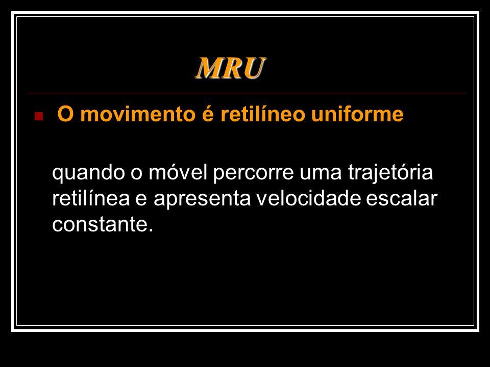 MRU O movimento é retilíneo uniforme quando o móvel percorre uma trajetória retilínea e apresenta velocidade escalar constante.
