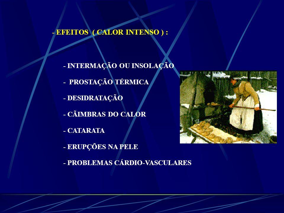 - EFEITOS ( CALOR INTENSO ) : - INTERMAÇÃO OU INSOLAÇÃO - PROSTAÇÃO TÉRMICA - DESIDRATAÇÃO - CÃIMBRAS DO CALOR - CATARATA - ERUPÇÕES NA PELE - PROBLEM