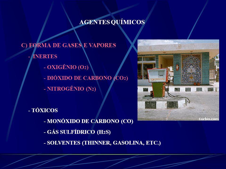 AGENTES QUÍMICOS C) FORMA DE GASES E VAPORES - INERTES - OXIGÊNIO (O 2 ) - DIÓXIDO DE CARBONO (CO 2 ) - NITROGÊNIO (N 2 ) - TÓXICOS - MONÓXIDO DE CARB