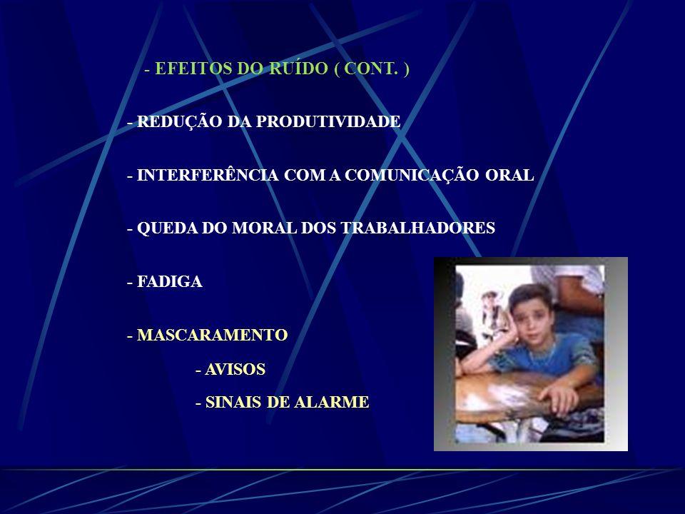 - EFEITOS DO RUÍDO ( CONT. ) - REDUÇÃO DA PRODUTIVIDADE - INTERFERÊNCIA COM A COMUNICAÇÃO ORAL - QUEDA DO MORAL DOS TRABALHADORES - FADIGA - MASCARAME