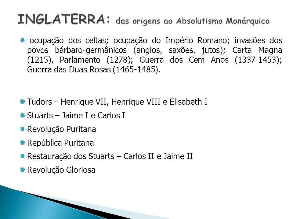 ocupação dos celtas; ocupação do Império Romano; invasões dos povos bárbaro-germânicos (anglos, saxões, jutos); Carta Magna (1215), Parlamento (1278);
