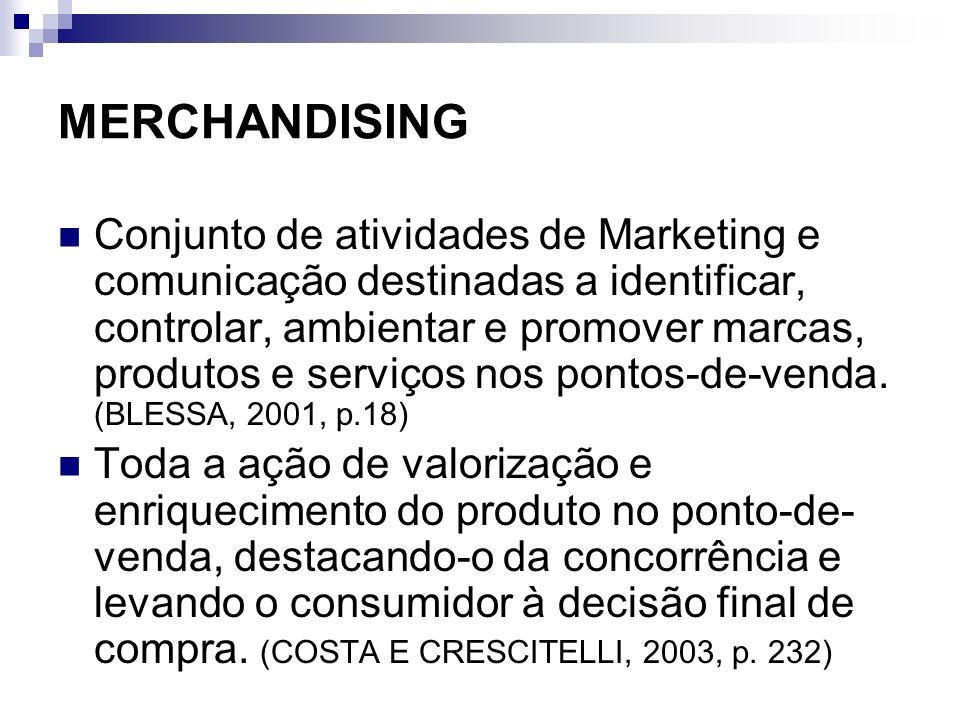 MERCHANDISING Conjunto de atividades de Marketing e comunicação destinadas a identificar, controlar, ambientar e promover marcas, produtos e serviços
