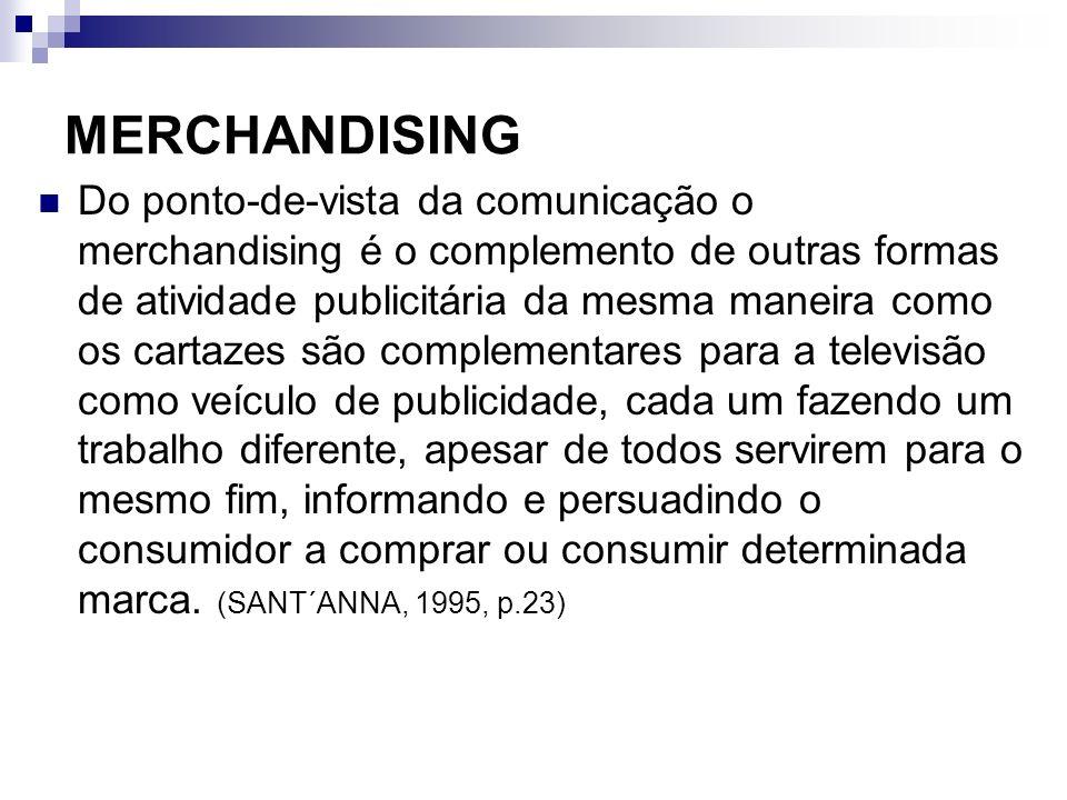 MERCHANDISING Do ponto-de-vista da comunicação o merchandising é o complemento de outras formas de atividade publicitária da mesma maneira como os car