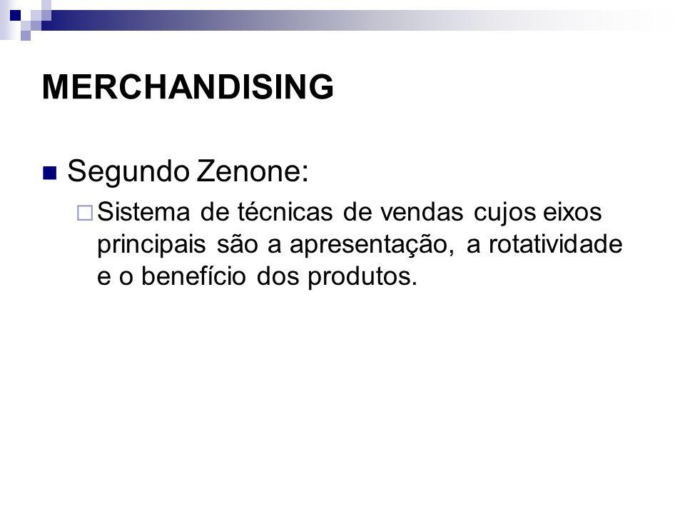 MERCHANDISING Segundo Zenone: Sistema de técnicas de vendas cujos eixos principais são a apresentação, a rotatividade e o benefício dos produtos.