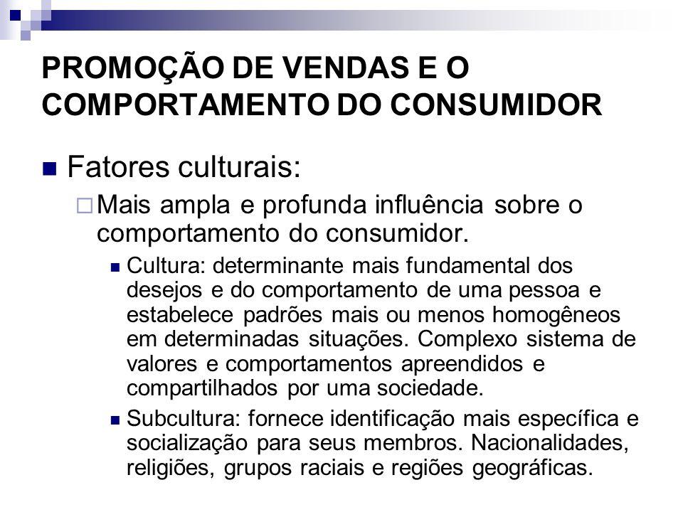PROMOÇÃO DE VENDAS E O COMPORTAMENTO DO CONSUMIDOR Fatores culturais: Mais ampla e profunda influência sobre o comportamento do consumidor. Cultura: d