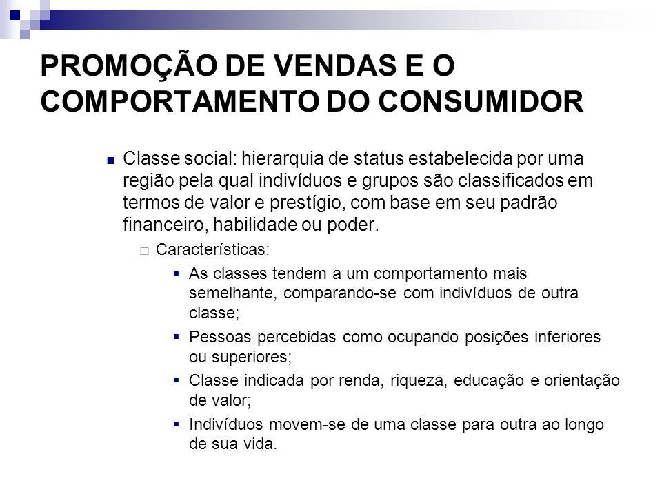 PROMOÇÃO DE VENDAS E O COMPORTAMENTO DO CONSUMIDOR Classe social: hierarquia de status estabelecida por uma região pela qual indivíduos e grupos são c
