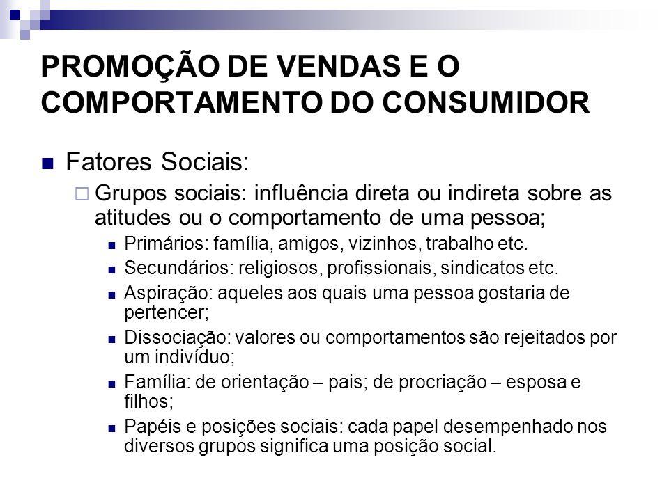 PROMOÇÃO DE VENDAS E O COMPORTAMENTO DO CONSUMIDOR Fatores Sociais: Grupos sociais: influência direta ou indireta sobre as atitudes ou o comportamento