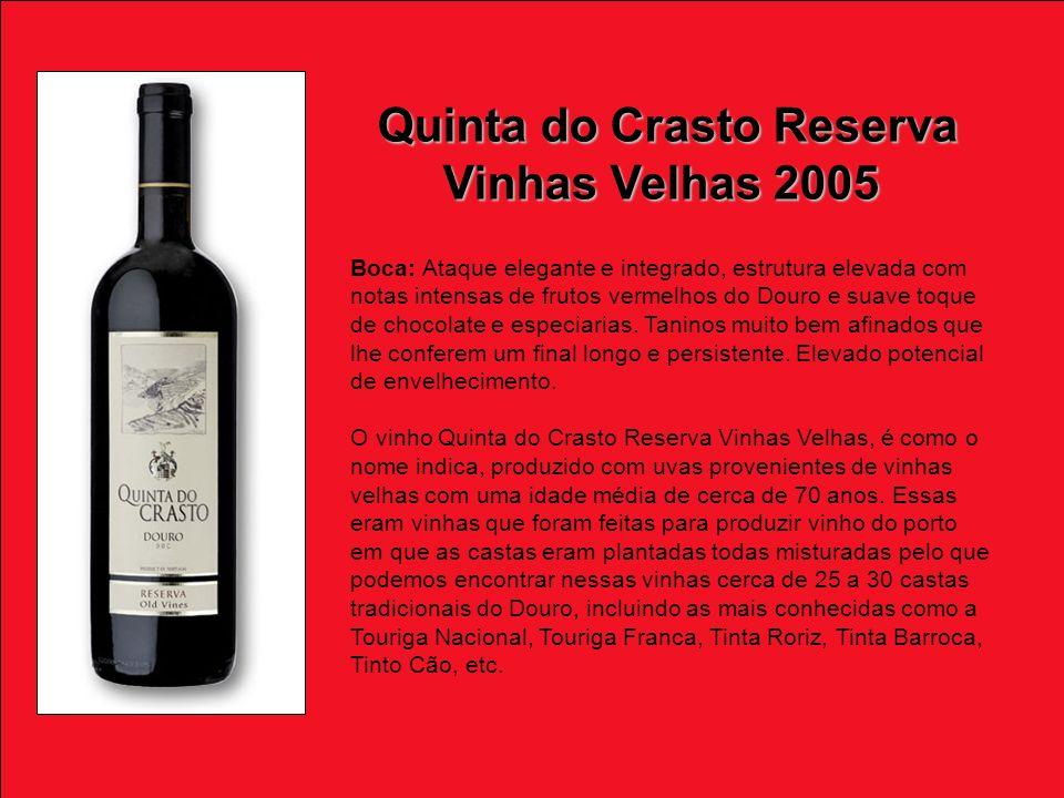 Boca: Ataque elegante e integrado, estrutura elevada com notas intensas de frutos vermelhos do Douro e suave toque de chocolate e especiarias.