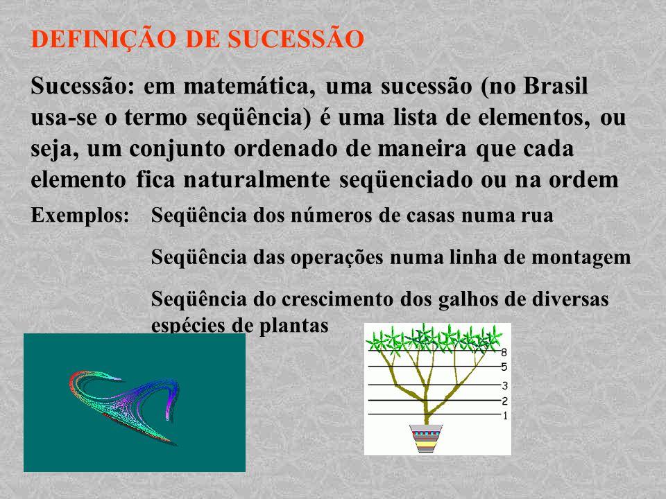 DEFINIÇÃO DE SUCESSÃO Sucessão: em matemática, uma sucessão (no Brasil usa-se o termo seqüência) é uma lista de elementos, ou seja, um conjunto ordena