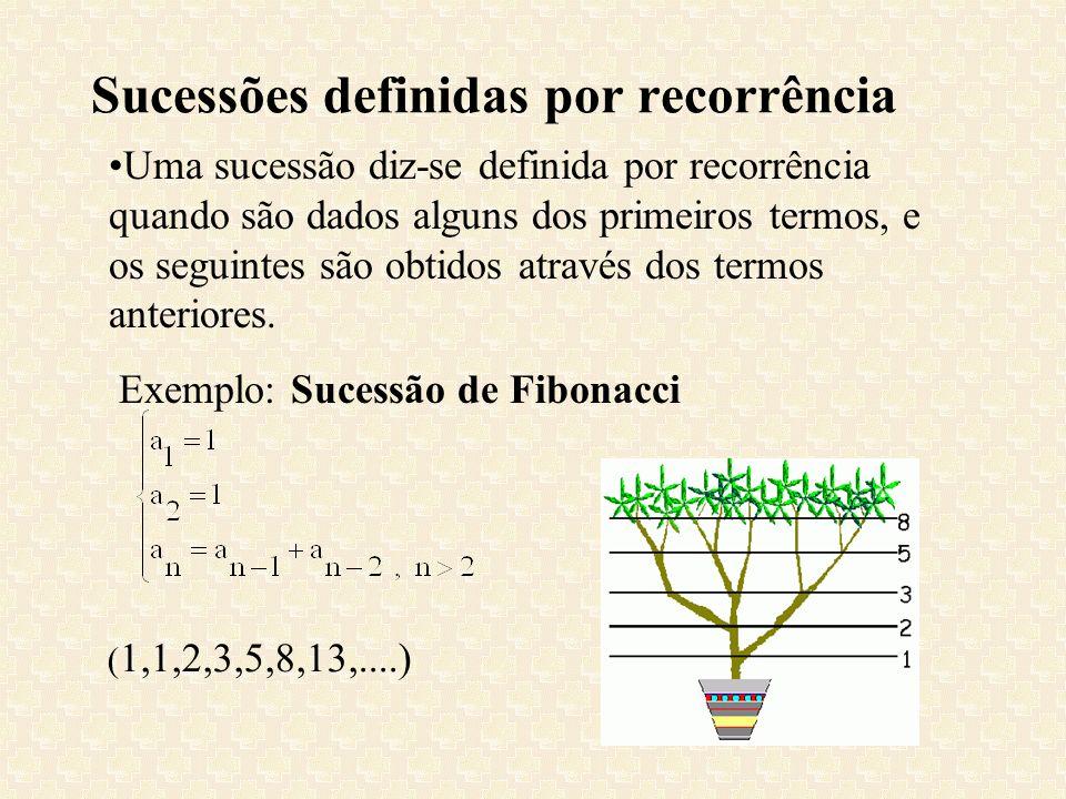 Sucessões definidas por recorrência Uma sucessão diz-se definida por recorrência quando são dados alguns dos primeiros termos, e os seguintes são obti
