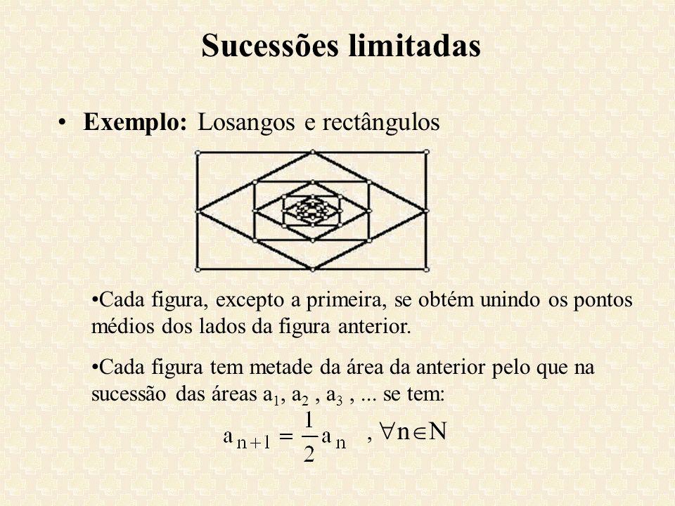 Sucessões limitadas Exemplo: Losangos e rectângulos Cada figura, excepto a primeira, se obtém unindo os pontos médios dos lados da figura anterior. Ca