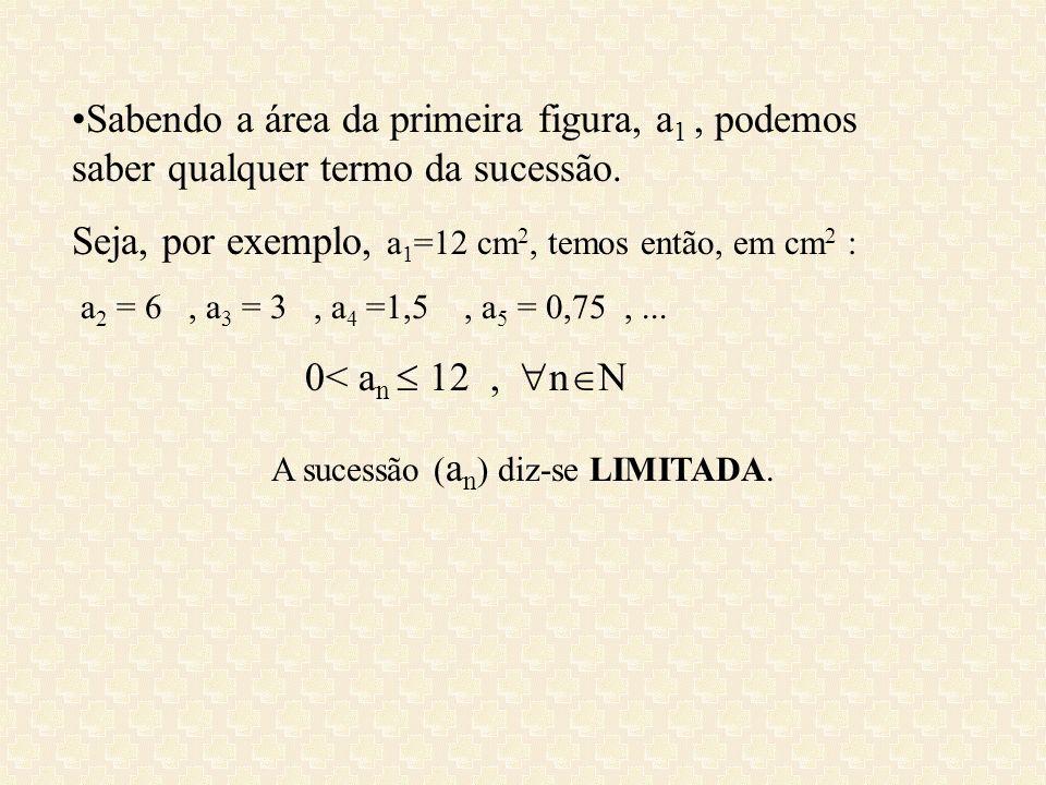 Sabendo a área da primeira figura, a 1, podemos saber qualquer termo da sucessão. Seja, por exemplo, a 1 =12 cm 2, temos então, em cm 2 : a 2 = 6, a 3