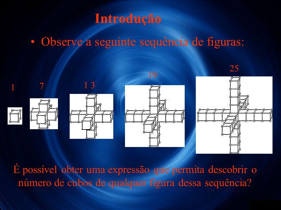 Introdução Observe a seguinte sequência de figuras: É possível obter uma expressão que permita descobrir o número de cubos de qualquer figura dessa se