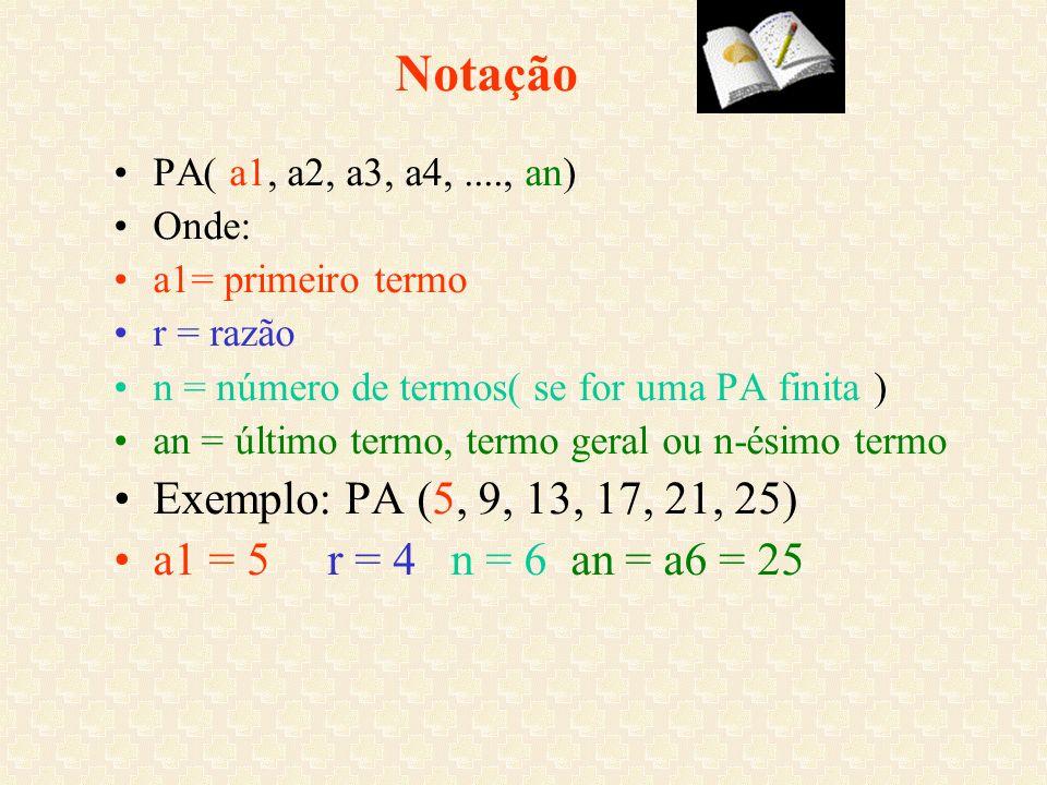 Notação PA( a1, a2, a3, a4,...., an) Onde: a1= primeiro termo r = razão n = número de termos( se for uma PA finita ) an = último termo, termo geral ou