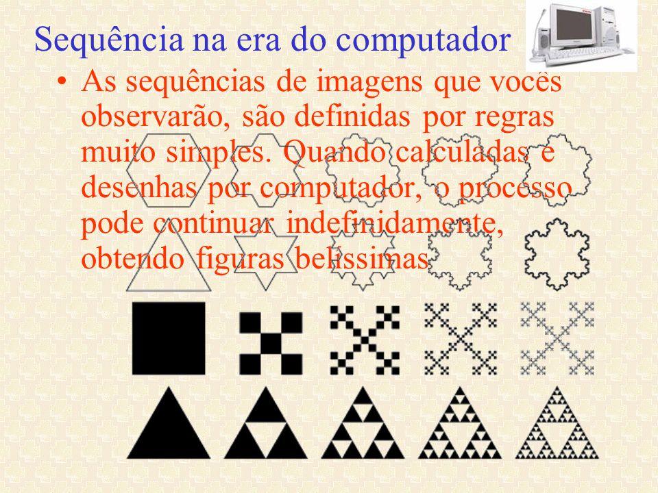 Sequência na era do computador As sequências de imagens que vocês observarão, são definidas por regras muito simples. Quando calculadas e desenhas por