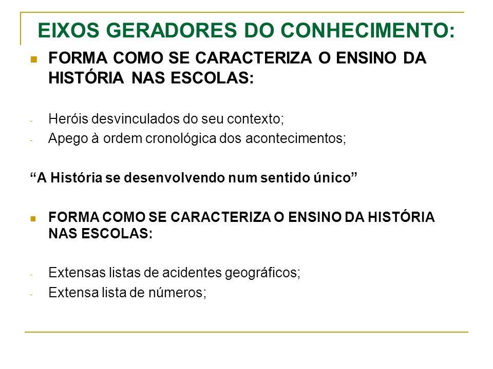 EIXOS GERADORES DO CONHECIMENTO: FORMA COMO SE CARACTERIZA O ENSINO DA HISTÓRIA NAS ESCOLAS: - Heróis desvinculados do seu contexto; - Apego à ordem cronológica dos acontecimentos; A História se desenvolvendo num sentido único FORMA COMO SE CARACTERIZA O ENSINO DA HISTÓRIA NAS ESCOLAS: - Extensas listas de acidentes geográficos; - Extensa lista de números;
