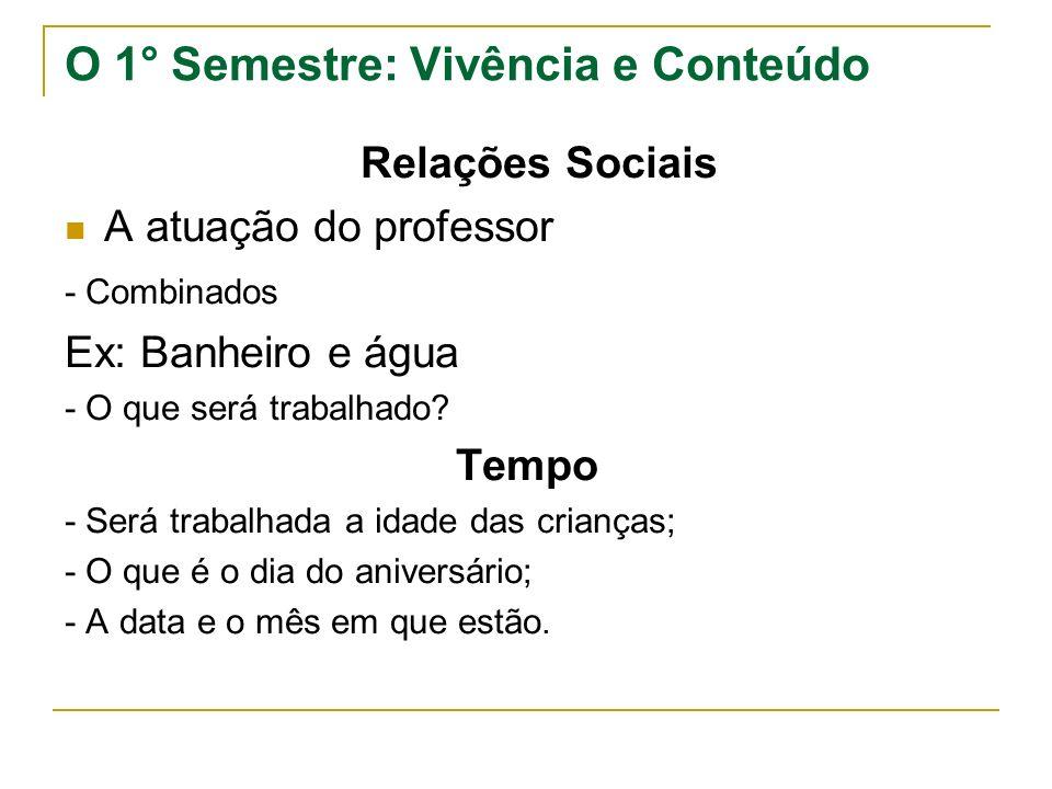 O 1° Semestre: Vivência e Conteúdo Relações Sociais A atuação do professor - Combinados Ex: Banheiro e água - O que será trabalhado.