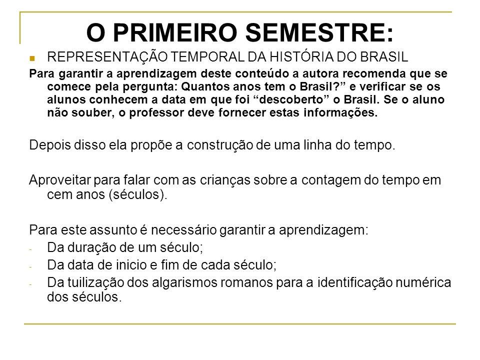 O PRIMEIRO SEMESTRE: REPRESENTAÇÃO TEMPORAL DA HISTÓRIA DO BRASIL Para garantir a aprendizagem deste conteúdo a autora recomenda que se comece pela pergunta: Quantos anos tem o Brasil.