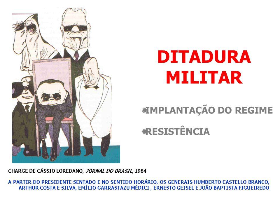 DITADURA MILITAR IMPLANTAÇÃO DO REGIME RESISTÊNCIA CHARGE DE CÁSSIO LOREDANO, JORNAL DO BRASIL, 1984 A PARTIR DO PRESIDENTE SENTADO E NO SENTIDO HORÁRIO, OS GENERAIS HUMBERTO CASTELLO BRANCO, ARTHUR COSTA E SILVA, EMÍLIO GARRASTAZU MÉDICI, ERNESTO GEISEL E JOÃO BAPTISTA FIGUEIREDO