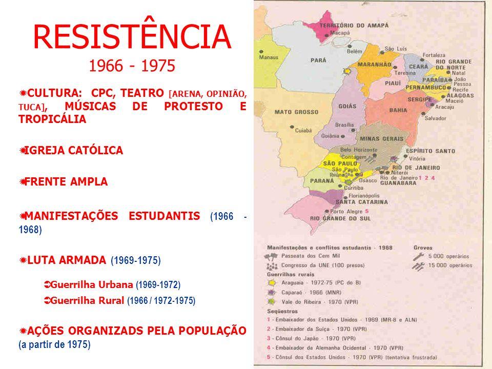RESISTÊNCIA 1966 - 1975 CULTURA: CPC, TEATRO [ARENA, OPINIÃO, TUCA], MÚSICAS DE PROTESTO E TROPICÁLIA IGREJA CATÓLICA FRENTE AMPLA MANIFESTAÇÕES ESTUDANTIS (1966 - 1968) LUTA ARMADA (1969-1975) Guerrilha Urbana (1969-1972) Guerrilha Rural (1966 / 1972-1975) AÇÕES ORGANIZADS PELA POPULAÇÃO (a partir de 1975)