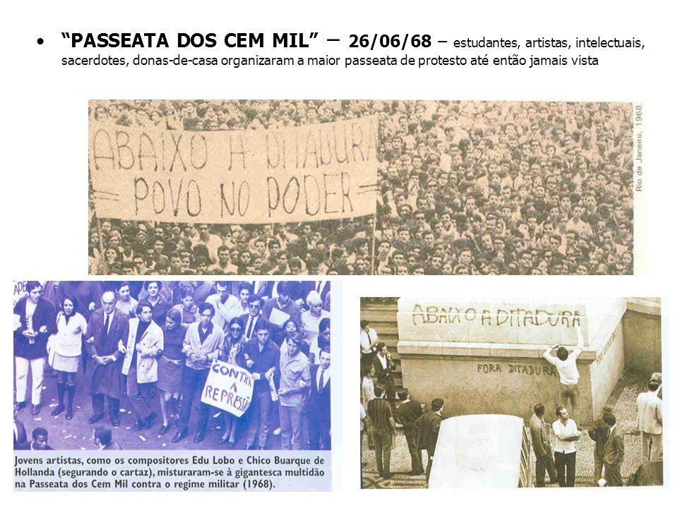 PASSEATA DOS CEM MIL – 26/06/68 – estudantes, artistas, intelectuais, sacerdotes, donas-de-casa organizaram a maior passeata de protesto até então jamais vista
