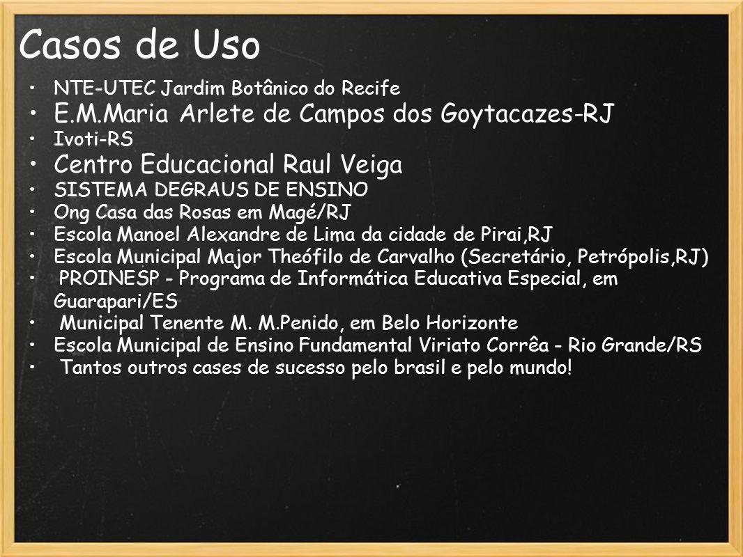 Casos de Uso NTE-UTEC Jardim Botânico do Recife E.M.Maria Arlete de Campos dos Goytacazes-RJ Ivoti-RS Centro Educacional Raul Veiga SISTEMA DEGRAUS DE