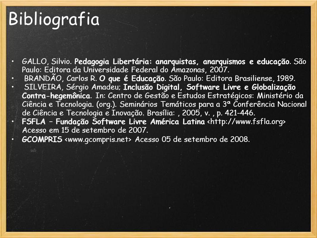 Bibliografia GALLO, Silvio. Pedagogia Libertária: anarquistas, anarquismos e educação. São Paulo: Editora da Universidade Federal do Amazonas, 2007. B