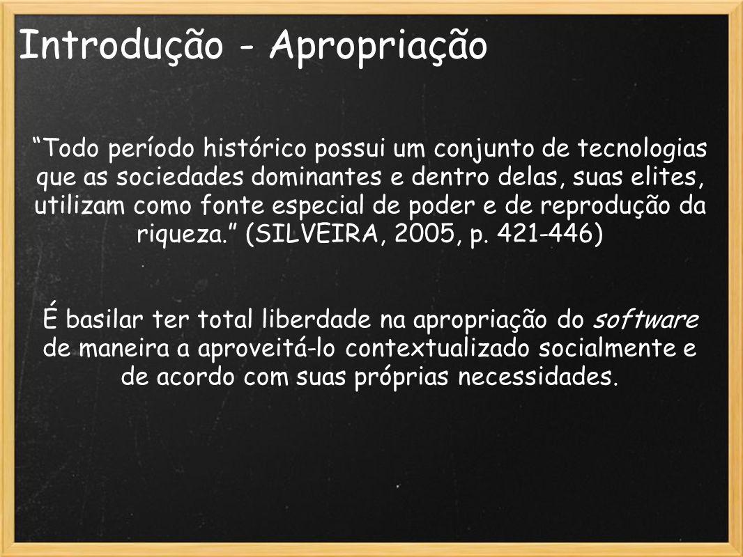 Introdução - Apropriação Todo período histórico possui um conjunto de tecnologias que as sociedades dominantes e dentro delas, suas elites, utilizam c