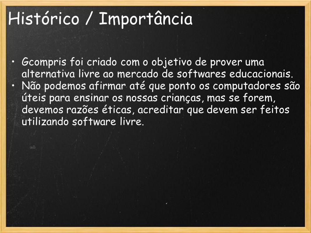 Histórico / Importância Gcompris foi criado com o objetivo de prover uma alternativa livre ao mercado de softwares educacionais. Não podemos afirmar a
