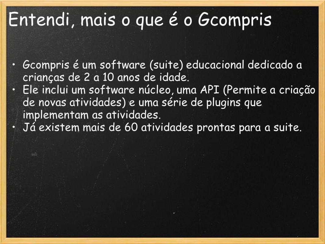 Entendi, mais o que é o Gcompris Gcompris é um software (suite) educacional dedicado a crianças de 2 a 10 anos de idade. Ele inclui um software núcleo