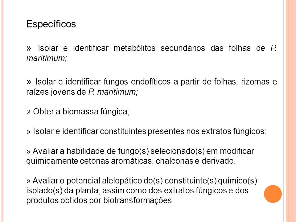 Estudo Químico da Planta A espécie Paspalum maritimum Trin.