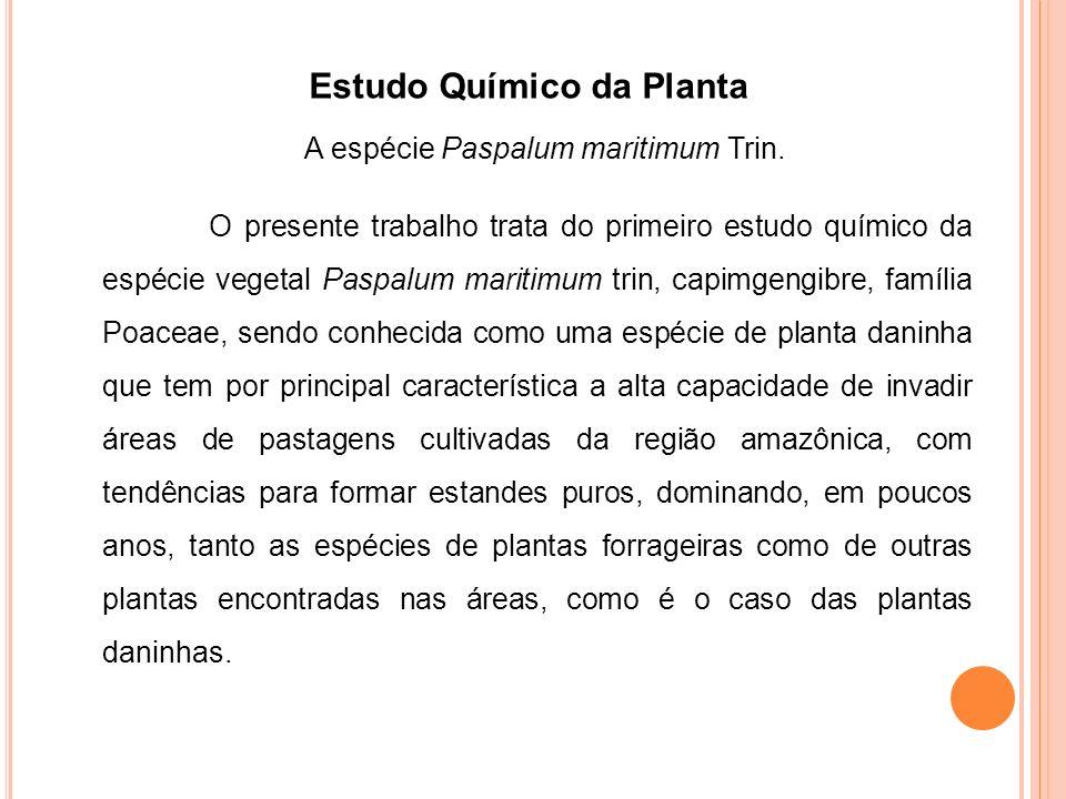 Tabela 1- Efeitos alelopáticos da tricina sobre a germinação de sementes e o desenvolvimento das plantas malícia, mata-pasto e puerária.