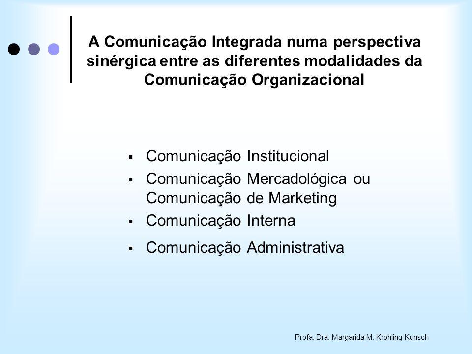 Profa. Dra. Margarida M. Krohling Kunsch A Comunicação Integrada numa perspectiva sinérgica entre as diferentes modalidades da Comunicação Organizacio