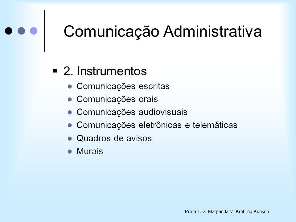 Profa. Dra. Margarida M. Krohling Kunsch Comunicação Administrativa 2. Instrumentos Comunicações escritas Comunicações orais Comunicações audiovisuais